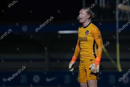 Former Chelsea goalkeeper Goalkeeper Hedvig Lindahl (#1 Atletico Madrid) during the UEFA Womens Champions League Round of 16 1st leg match between Chelsea and Atletico Madrid at Cherry Red Records Stadium
