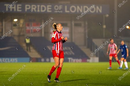 Toni Duggan (#18 Atletico Madrid) during the UEFA Womens Champions League Round of 16 1st leg match between Chelsea and Atletico Madrid at Cherry Red Records Stadium