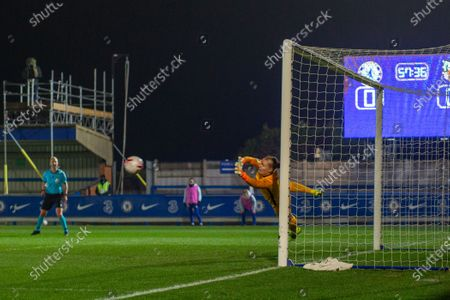 A penalty from Maren Mjelde (#18 Chelsea) beats Goalkeeper Hedvig Lindahl (#1 Atletico Madrid) in the UEFA Womens Champions League Round of 16 1st leg match between Chelsea and Atletico Madrid at Cherry Red Records Stadium