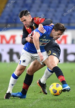 Genoa's Kevin Strootman (L) and Sampdoria's Adrien Silva (L) in action during the Italian Serie A match between Genoa CFC and UC Sampdoria at Luigi Ferraris stadium in Genoa, Italy, 03 March 2021.