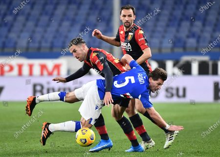 Genoa's Kevin Strootman (L) and Sampdoria's Adrien Silva (R) in action  during the Italian Serie A match between Genoa CFC and UC Sampdoria at Luigi Ferraris stadium in Genoa, Italy, 03 March 2021.