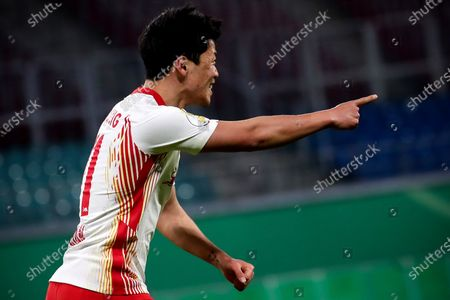 Leipzig's Hee-Chan Hwang celebrates after scoring the 2-0 lead during the German DFB Cup quarter final soccer match between RB Leipzig and VfL Wolfsburg in Leipzig, Germany, 03 March 2021.