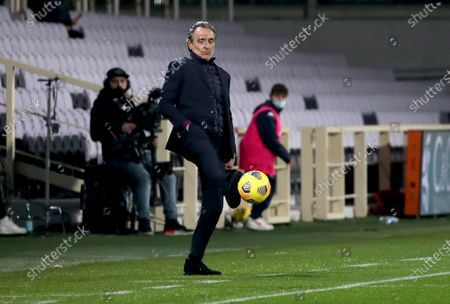 Fiorentina's head coach Cesare Prandelli reacts during the Italian Serie A soccer match between ACF Fiorentina and AS Roma at the Artemio Franchi stadium in Florence, Italy, 03 March 2021.