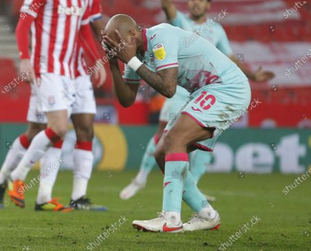 Stock Picture of Andre Ayew of Swansea reaction to missed  chance
