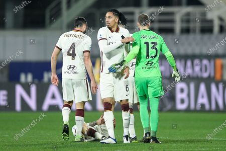 Chris Smalling of AS Roma and Pau Lopez of AS Roma celebrate the victory during the Serie A match between ACF Fiorentina and AS Roma at Stadio Artemio Franchi, Florence, Italy on 3 March 2021.