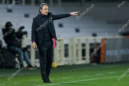 Stock Photo of Cesare Prandelli manager of ACF Fiorentina gestures during the Serie A match between ACF Fiorentina and AS Roma at Stadio Artemio Franchi, Florence, Italy on 3 March 2021.