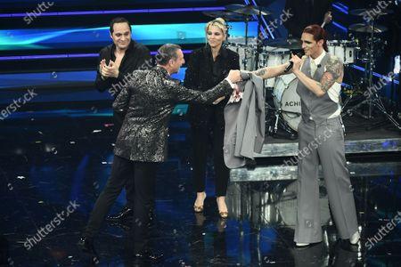 Stock Photo of Amadeus, Achille Lauro, journalist Francesca Barra and actor Claudio Santamaria