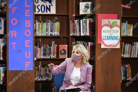 First lady Jill Biden speaks to parents as she tours Fort LeBoeuf Middle School in Waterford, Pa