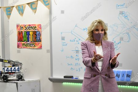 First lady Jill Biden speaks while visiting a robotics lab as she tours Fort LeBoeuf Middle School in Waterford, Pa
