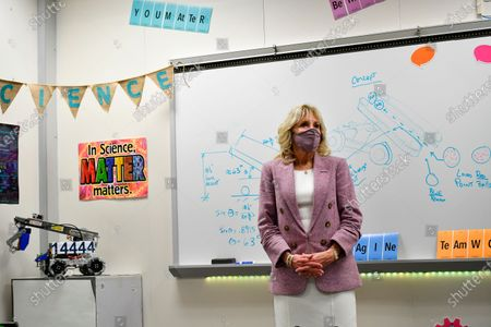 First lady Jill Biden visits a robotics lab as she tours Fort LeBoeuf Middle School in Waterford, Pa