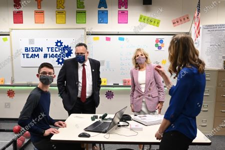 First lady Jill Biden and Education Secretary Miguel Cardona visit a robotics lab during a tour at Fort LeBoeuf Middle School in Waterford, Pa