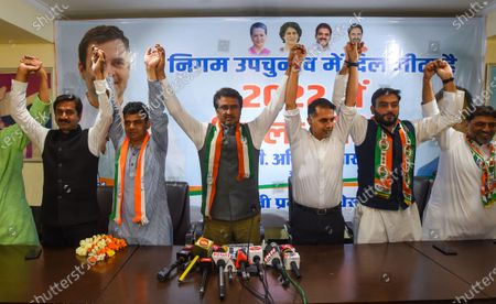 Delhi Pradesh Congress Committee president Anil Kumar along with Chaudhary Zubair Ahmad winner of the Chauhan Bangar ward in MCD by-elections during the press conference at DPCC office, ITO on March 3, 2021 in New Delhi, India.