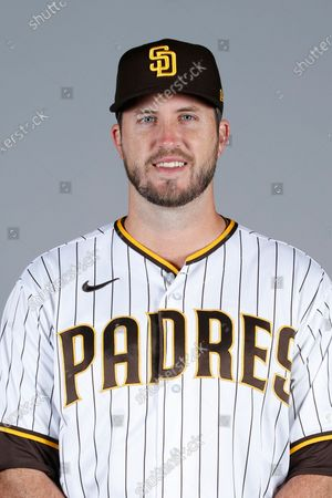 Stock Photo of This is a 2021 photo of Drew Pomeranz of the San Diego Padres baseball team. This image reflects the San Diego Padres active roster as of when this image was taken
