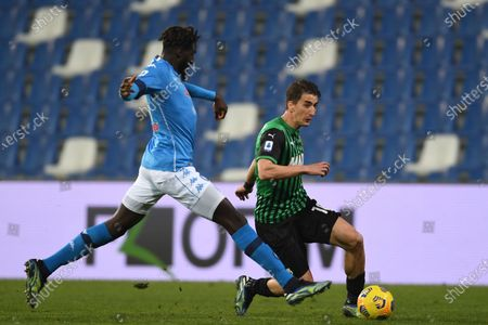 "Filip Djuricic  (Sassuolo)Tiemoue Bakayoko (Napoli)           during the Italian ""Serie A  match between Sassuolo 3-3 Napoli  at  Mapei Stadium in Reggio Emilia, Italy."