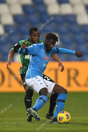 "Tiemoue Bakayoko (Napoli)Hamed Junior Traore (Sassuolo)           during the Italian ""Serie A  match between Sassuolo 3-3 Napoli  at  Mapei Stadium in Reggio Emilia, Italy."