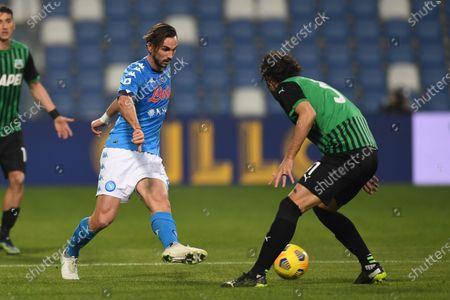 "Fabian Ruiz Pena (Napoli)Gian Marco Ferrari (Sassuolo)           during the Italian ""Serie A  match between Sassuolo 3-3 Napoli  at  Mapei Stadium in Reggio Emilia, Italy."