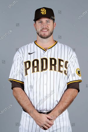 Stock Picture of This is a 2021 photo of Drew Pomeranz of the San Diego Padres baseball team. This image reflects the San Diego Padres active roster as of when this image was taken