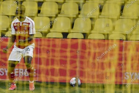 Reims Ivorian defender Ghislain Konan celebrates his goal during the Ligue 1 football match between Nantes (FC Nantes) and Reims (Stade de Reims) at the La Beaujoire Stadium in Nantes