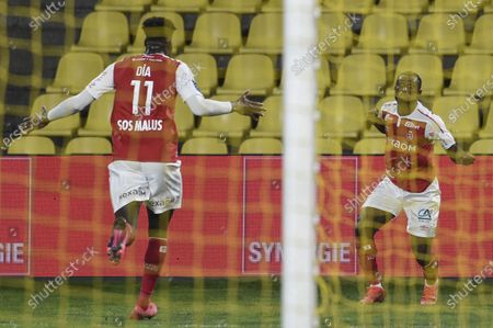 Reims Ivorian defender Ghislain Konan celebrates his goal with ReimsSenegalese forward Boulaye Dia (r) during the Ligue 1 football match between Nantes (FC Nantes) and Reims (Stade de Reims) at the La Beaujoire Stadium in Nantes