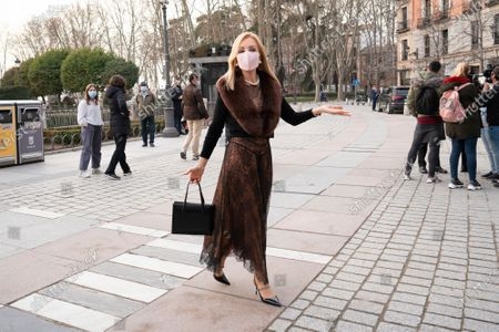 """Carmen Lomana attends the premiere of  the performance of """"Norma"""" an opera by Vincenzo Bellini at the Teatro Real."""