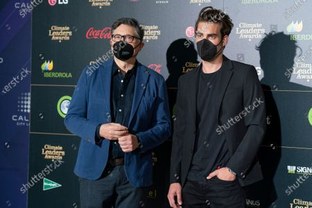 Stock Image of Actor Carlos Bardem (L) and model Jon Kortajarena, (R) attend the Climate Leaders Awards 2021 at the Callao cinema.