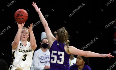 Colorado guard Frida Formann (3) shoots as Washington center Darcy Rees (53) defends during an NCAA college basketball game in the first round of the Pac-12 women's tournament, in Las Vegas