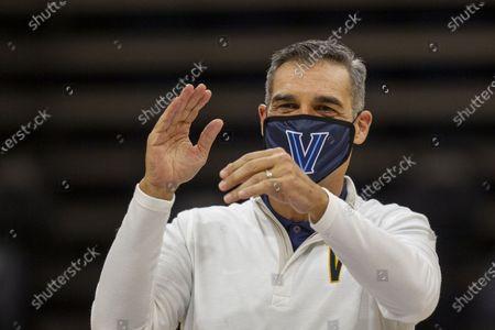 Villanova head coach Jay Wright before an NCAA college basketball game against Creighton, in Villanova, Pa