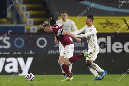 Charlie Taylor of Burnley in action with Leicester City's Youri Tielemans  during the Premier League match between Burnley and Leicester City at Turf Moor, Burnley on Wednesday 3rd March 2021.