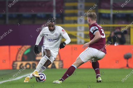 Ricardo Pereira Leicester City in action with Charlie Taylor of Burnley during the Premier League match between Burnley and Leicester City at Turf Moor, Burnley on Wednesday 3rd March 2021.