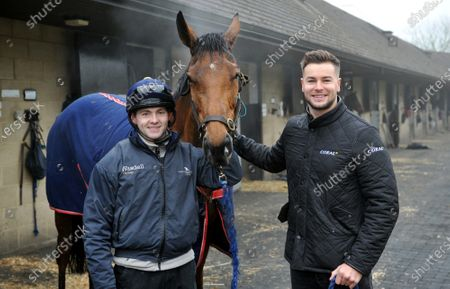 Stock Image of Left to right: Jonjo O'Neill Jr., Annie Mc and Chris Hughes. TV personality and Coral ambassador Chris Hughes has this week launched a prize draw which gives Coral customers the chance to own a share of the Coral Champions Club mare, Annie Mc, when she lines up in the inaugural Mares' Chase at the Cheltenham Festival later this month 2021. There is no maximum number of entries per customer and the prize draw will take place at 09:00 on Monday 15th March.