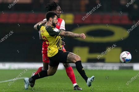 Andre Gray of Watford kicks the ball during the Sky Bet Championship match between Watford and Wycombe Wanderers at Vicarage Road, Watford on Wednesday 3rd March 2021.