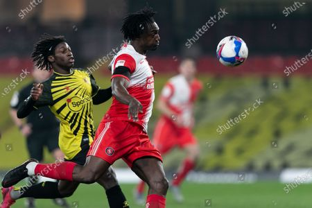 Anthony Stewart of Wycombe Wanderers kicks the ball during the Sky Bet Championship match between Watford and Wycombe Wanderers at Vicarage Road, Watford on Wednesday 3rd March 2021.
