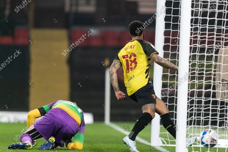 Andre Gray of Watford scores a goal during the Sky Bet Championship match between Watford and Wycombe Wanderers at Vicarage Road, Watford on Wednesday 3rd March 2021.