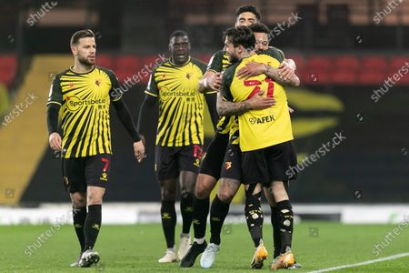 Andre Gray of Watford celebrates with his team mates after scoring a goal during the Sky Bet Championship match between Watford and Wycombe Wanderers at Vicarage Road, Watford on Wednesday 3rd March 2021.