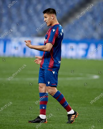Oscar Duarte of Levante UD reacts during the La Liga match between Real Sociedad CF and Levante UD at Reale Arena on March 07, 2021 in San Sebastian, Spain.