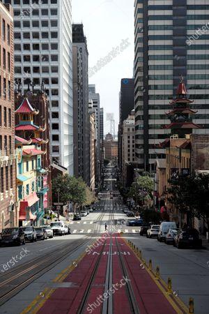 A nearly empty street is seen in San Francisco, the United States, March 3, 2021. U.S. San Francisco Mayor London Breed on Wednesday announced the launch of a new initiative to promote small business economic recovery and community vibrancy in the city.