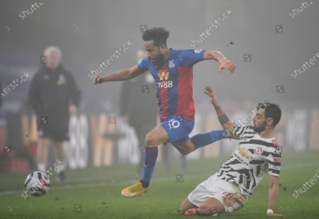 Andros Townsend of Crystal Palace and Bruno Fernandes of Manchester United