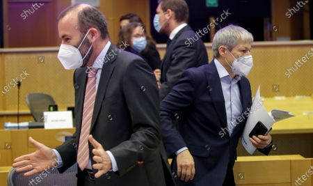 Stock Picture of Leader of the European People's Party at the European Parliament Manfred Weber (L) attends Conference of Presidents at the European parliament in Brussels, Belgium, 04 March 2021.