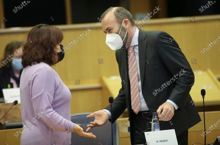 Stock Photo of Leader of Socialist group, Spanish Iratxe Garcia Perez (L) and Leader of the European People's Party at the European Parliament Manfred Weber (R) attend Conference of Presidents at the European parliament in Brussels, Belgium, 04 March 2021.