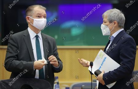 Stock Picture of European Parliament Greens group co-leader Philippe Lamberts (R) and the leader of EP Renew Europe party Dacian Ciolos (L) attend Conference of Presidents at the European parliament in Brussels, Belgium, 04 March 2021.