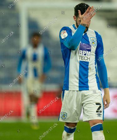 Pipa of Huddersfield Town reaction to Fraizer Campbell of Huddersfield Town missing a scoring chance; The John Smiths Stadium, Huddersfield, Yorkshire, England; English Football League Championship Football, Huddersfield Town versus Cardiff City.