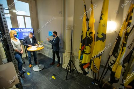 Vlaams Belang's Anke Van Dermeersch, Vlaams Belang's Filip Dewinter and Vlaams Belang's Sam Van Rooy pictured during a press moment concerning the fortieth anniversary of Flemish far right party Vlaams Belang which started with the name Vlaams Blok, Thursday 04 March 2021 in Antwerp.