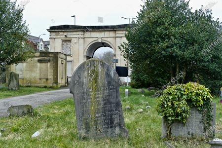 Editorial image of Iconic Reading Cemetery Junction arch put up for sale which featured in the 2010 Ricky Gervais and Stephen Merchant film Cemetary Junction, East Reading, Reading, UK - 04 Mar 2021