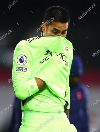 Goalkeeper Alphonse Areola of Fulham shows a look of dejection at full time