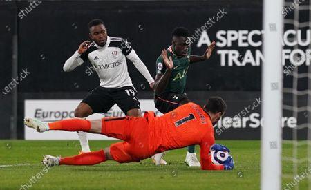 Ademola Lookman of Fulham sea his shot saved by Davinson Sanchez and Goalkeeper Hugo Lloris of Tottenham Hotspur
