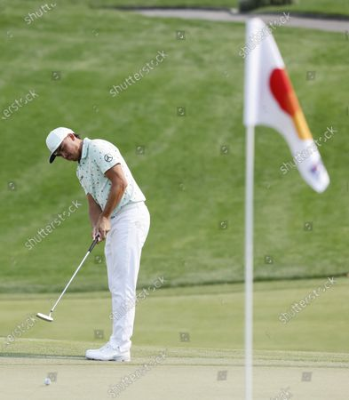 Rickie Fowler of the US putts on the seventh hole during the first round of the Arnold Palmer Invitational presented by Mastercard golf tournament at the Bay Hill Club & Lodge in Orlando, Florida, USA, 04 March 2021.