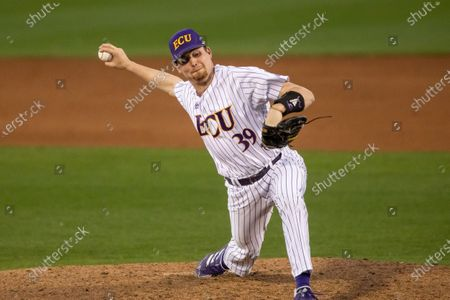 East Carolina's Cam Colmore (39) pitches during an NCAA baseball game, in Greenville, N.C