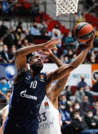 Trey Thompkins (R) of Madrid in action against Will Thomas (L) of Zenit during the Euroleague basketball match between BC Zenit St. Petersburg and Real Madrid in St. Petersburg, Russia, 04 March 2021.