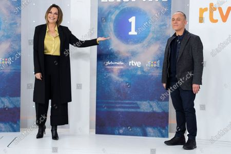 Stock Image of Actress Cristina Plazas and actor Javier Gutierrez attend 'Estoy Vivo' photocall at RTVE on March 04, 2021 in Madrid, Spain.