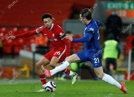 Liverpool's Trent Alexander-Arnold (L) in action against Chelsea's Ben Chilwell (R) during the English Premier League soccer match between Liverpool FC and Chelsea FC in Liverpool, Britain, 04 March 2021.